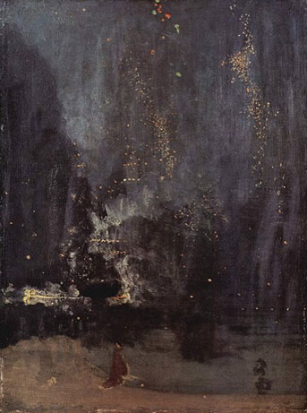 A painting of fireworks with a musical title